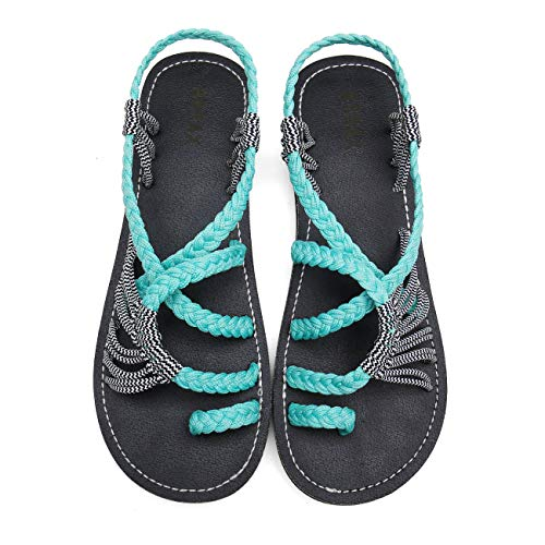 MEGNYA Flat Sandals for Women Braided Strap Beach ShoesZD001-W4-4 Mint -