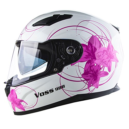 Mask Graphic Motorcycle Face (Voss 988 Moto-1 Lily Graphic Street Full Face Helmet with Drop Down Internal Sun Lens - XS - White/Pink Lily)