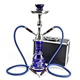 "GSTAR Convertible Series: 18"" 1 or 2 Hose Hookah Complete Set w/ Case - Majestic Glass Vase - (Santorini Blue)"