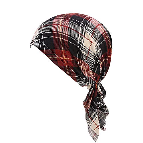 (Fiaya Unisex Silky Durag Hats,Amoeba Viking Hat,Straps Headwraps Pirate Cap Turban 360 Waves Hats Cycling Caps Chemotherapy Hat (Red Plaid A05, 1PC))