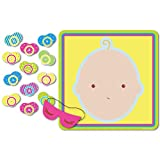 "Beistle 66675 ""Pin The Pacifier"" Baby Shower Game. This baby shower game includes 1 mask and 12 pacifiers. The poster measures 171/2 Inch by 191/2 Inch. Play this fun game at a baby shower!."