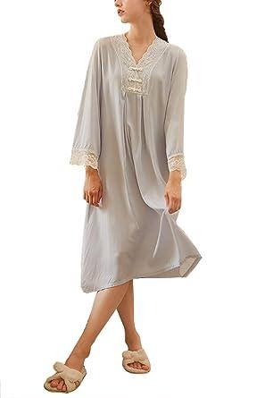 Women s Nightgown Cotton V-Neck Pajama Nightwear Long Sleeve Vintage  Sleepwear Lounge Dress (US 606e48721