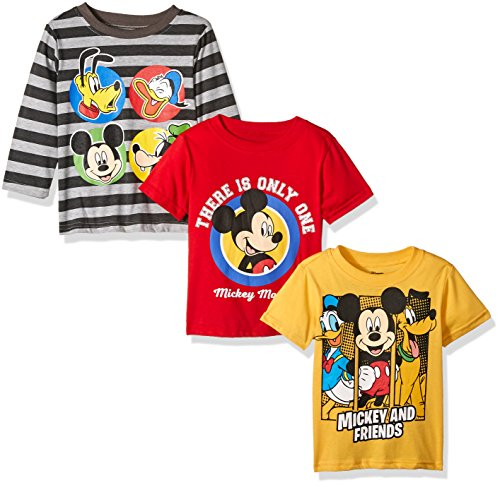 [Disney Little Boys' Toddler Mickey 3 Pack T-Shirts with a Long Sleeve T-Shirt, Grey, 2T] (Disney Toddler)
