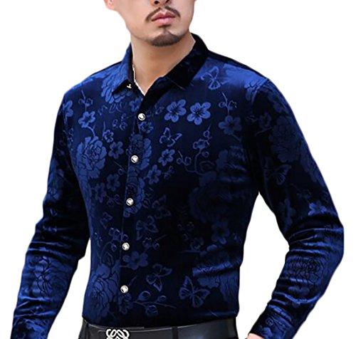 UK Shirt Fit today Dress Slim Long Down Print 5 Mens Button Sleeve Velvet Ud0dqw4