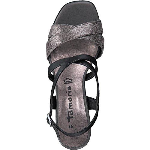 Tamaris - Sandalias de vestir para mujer BLK/PEWTER MET