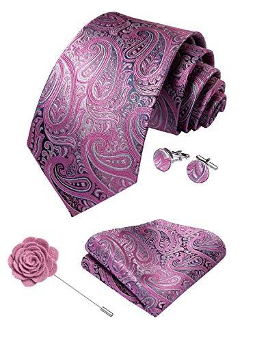 (DiBanGu Men's Paisley Tie and Pocket Square Lapel Pin Woven Necktie Cufflink Set (Pink))