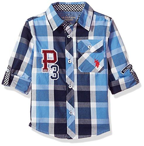 U.S. Polo Assn. Boys' Long Sleeve Plaid Shirt, Classic Navy Sour Cream, - Tartan Polo