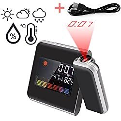 Smart Digital Projection Clock Time Alarm with Backlight, Support Weather Forecast,Repeating Snooze,Calendar Thermometer Humidity Function (Plug Not Included)