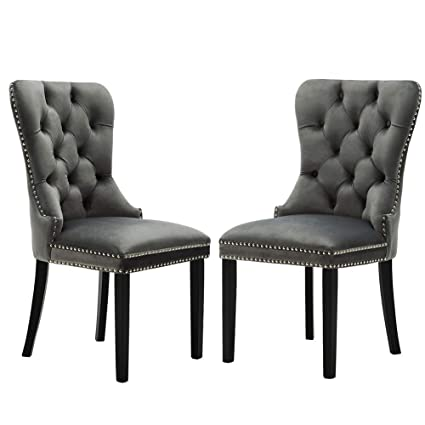 Amazon Com Elegant Tufted Rustic Dining Chairs Formal Retro