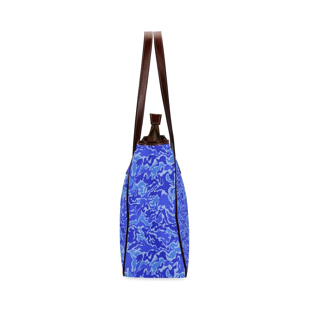 InterestPrint Custom Tote Bags Camo Blue Camouflage Pattern Print Classic Tote Bag