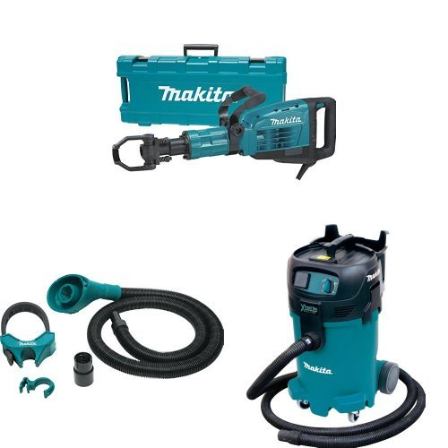 Makita HM1307CB 35 lb. Demolition Hammer, 197172-1 Dust Extraction Attachment, 1-1/8-Inch Hex Shank, VC4710 12-Gal Xtract Vac Wet/Dry Dust Extractor/Vacuum