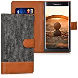 kwmobile Wallet case canvas cover for Blackberry Priv - Flip case with card slot and stand in anthracite brown