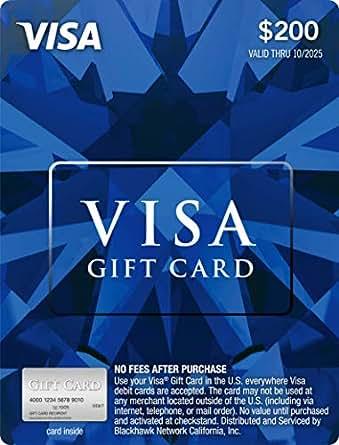 Amazon.com: $200 Visa Gift Card (plus $6.95 Purchase Fee