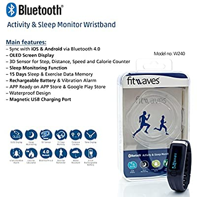 Fitness & Activity Tracker by fitWaves - Best Wireless Wristband Pedometer & Watch Tracks Your Steps, Sleep, Calories Burned - iPhone & Android Compatible Via Bluetooth - Monitor and Improve your Fitness today!