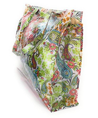 Y Brandelia Mujer Playa Grandes Impermeable Modelos Con Bolso Paisley Plástico Compras Bolsos Cremallera Colores Varios rCqrwX7