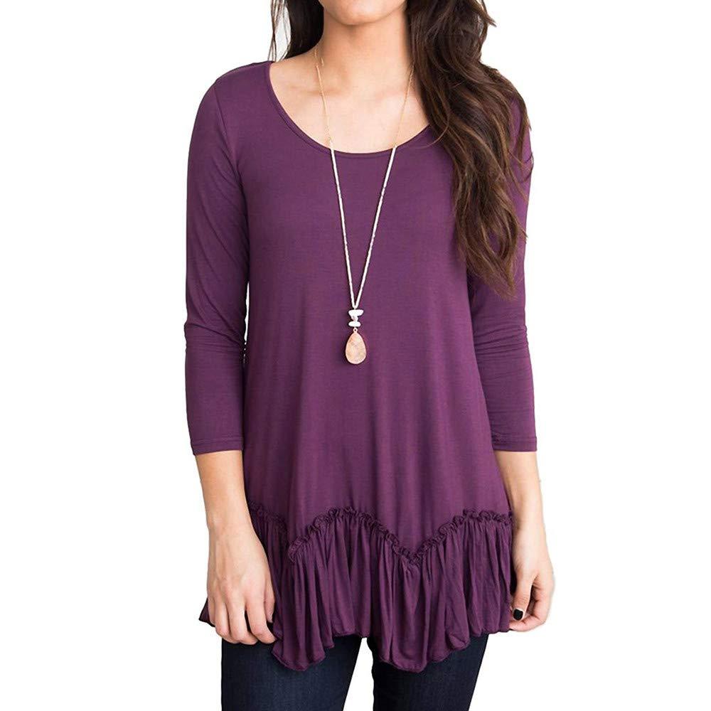 Lenfesh VêTements De Mode, T-Shirt DéContracté Unicolore à Encolure Arrondie Et Manches Courtes à Manches Courtes pour Femmes
