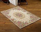 MeMoreCool Well-designed European Palace Elegant Jacquard Rectangle Tea Table Carpet,Living Room /Bedroom Area Rug,Floral Pastoral Design Mat,2871 Inch Review