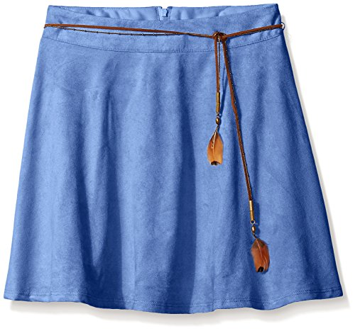 Amy Byer Big Girls' Knit Suede Circle Skirt with Belt, Periwinkle, Large