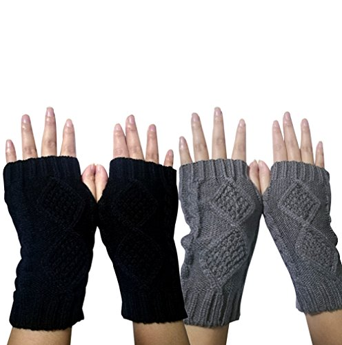 Novawo Women's Hand Crochet Winter Warm Fingerless Arm Warmers Gloves (Gloves Fingerless Ladies)