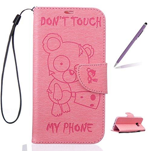 Trumpshop Smartphone Carcasa Funda Protección para Samsung Galaxy S7 + Dont Touch My Phone (Bebe oso) Negro + PU Cuero Caja Protector Billetera con Cierre magnético Choque Absorción Rosado