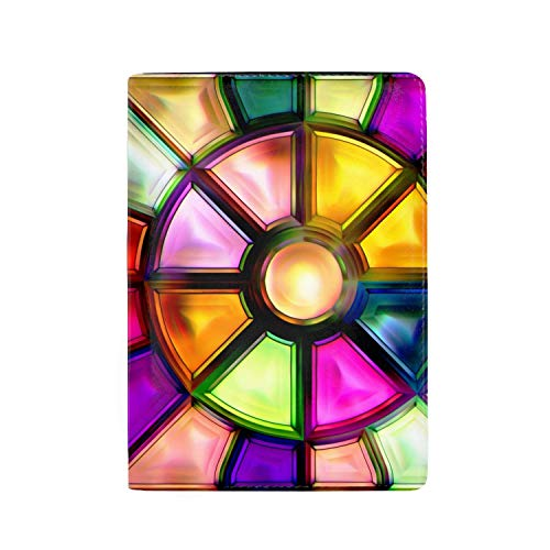 jiebokejiHFGD Leather Passport Holder Wallet Cover Case Blocking Travel Wallet Glass Colorful Stained Glass 3.94 x 5.51 inch