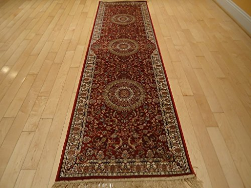 Silk Red Rug Persian Area Rugs Traditional Rug Living Room Accent Rug 2x12 Rug Hallway Runners Rug Soft Silk Shiny Reds Rug 2x11 Carpet (2'x12' Hallway Runner)