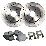 Detroit Axle - Drilled & Slotted Rear Brake Rotors & Brake Pads w/Clips Hardware Kit Performance GRADE for 12-17 Azera - [11-14 Sonata 2.0/2.4L] - Kia Optima