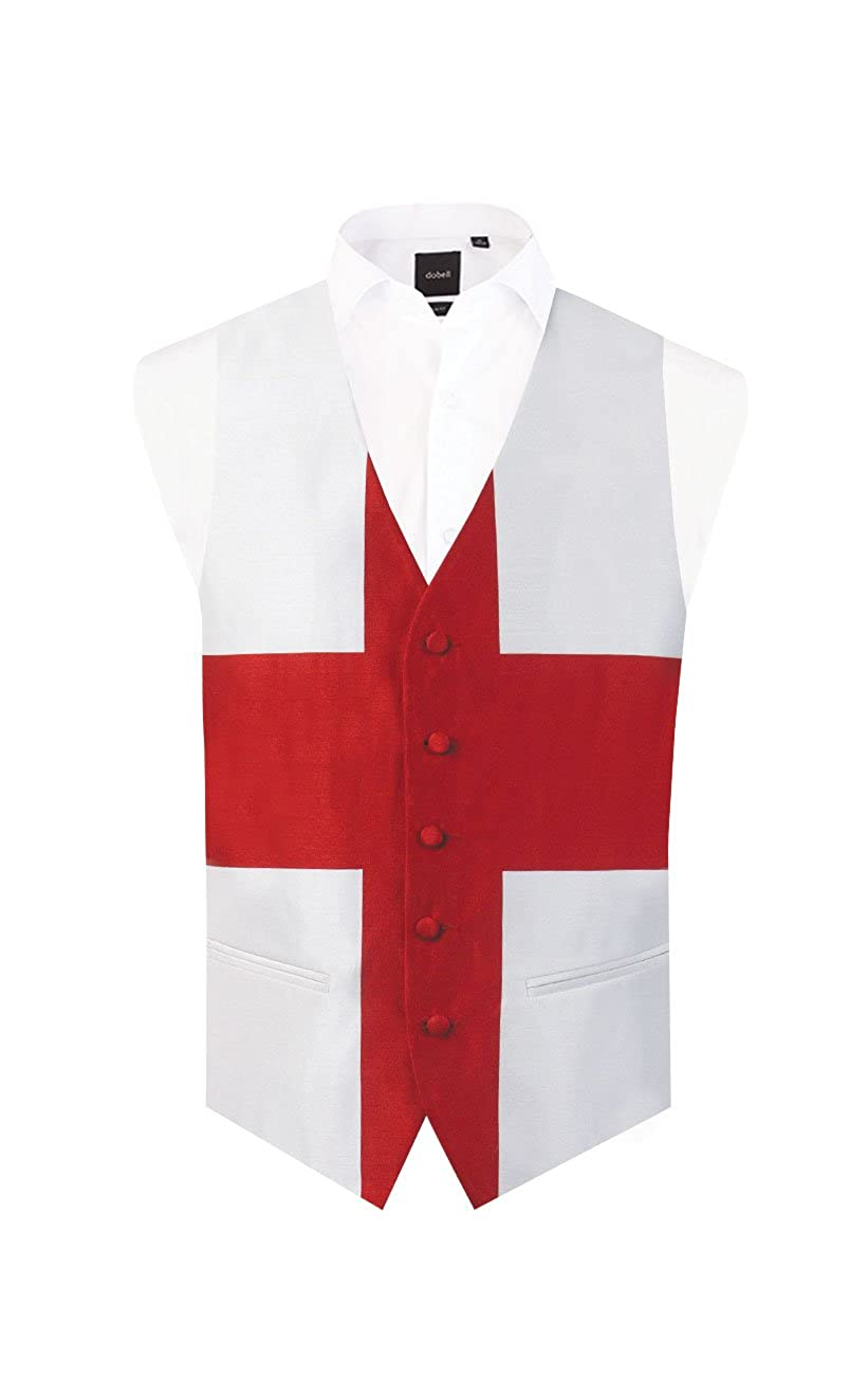 Dobell Mens England St George Waistcoat Regular Fit 5 Button