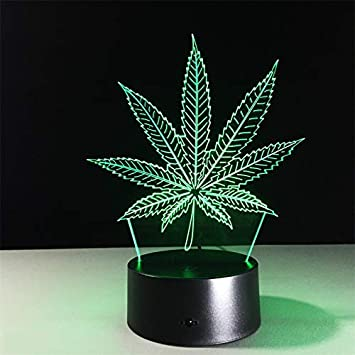 3D Cannabis leaves Night Lighting Touch Botton 7 Color Change Decor LED Lamp