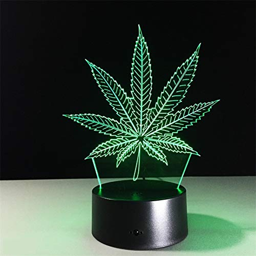 3D Night Light Cannabis Marijuana Lamp LED Weed Pot Leaf Lamp with USB Cable, 7 LED Colors Change, Smart Touch, Button Control, Acrylic Panel & ABS Base