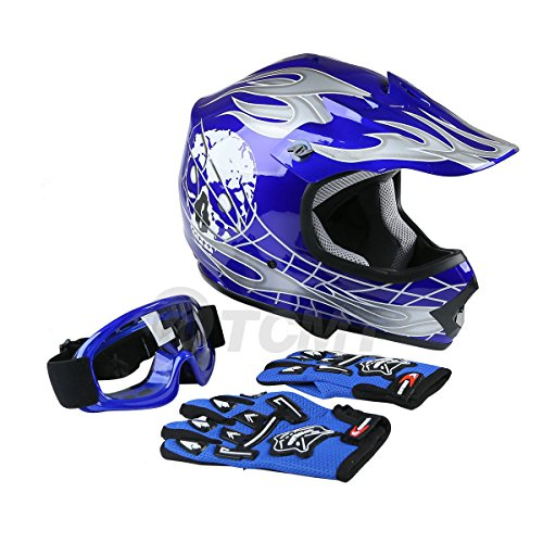 TCMT Dot Youth & Kids Motocross Offroad Street Helmet Blue Skull Motorcycle Helmet Silver Dirt Bike Helmet+Goggles+gloves ()