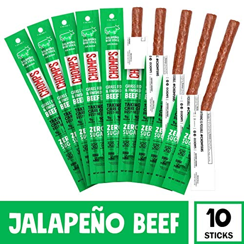 CHOMPS Grass Fed Beef Jerky Meat Snack Sticks, Keto, Paleo, Whole30 Approved, Low Carb, High Protein, Sugar Free, Gluten Free, Non-GMO, Nitrate Free, 90 Calories 1.15 Oz, Jalapeño Beef 10 Pack