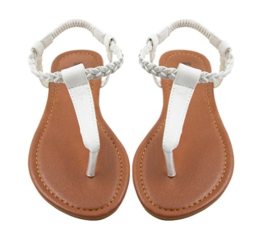 Sara Z Womens T Strap Size Thong Sandal Glitter Braid Ankle Strap Size 9/10 (Sandals Women Thong)
