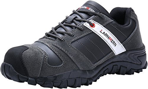 LARNMERN Work Shoes for Men, LM-18 Men's Steel Toe Safety Shoes Breathable Comfortable Footwear Industrial and Construction Boots Black