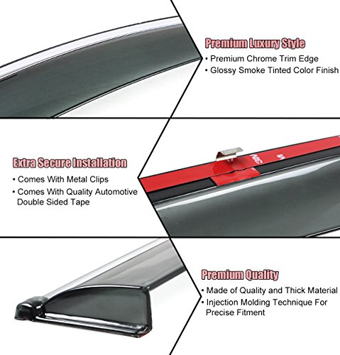 4 Pcs Set Compatible With 2006-2011 Lexus GS300 GS430 Tuningpros WD2-497 Outside Mount Window Visor Deflector Rain Guard Dark Smoke