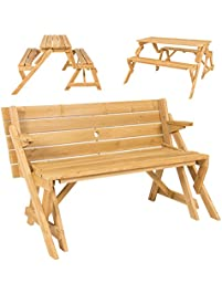 best choice products patio 2 in 1 outdoor picnic table garden bench wood