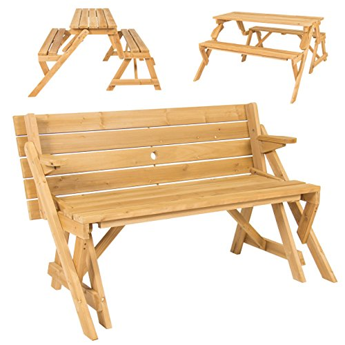 Best Choice Products 2-in-1 Outdoor Transforming Interchangeable Wooden Picnic Table/Garden Bench w/Umbrella Hole, Natural