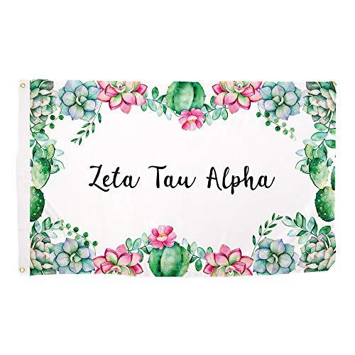 Zeta Tau Alpha Succulent Flower Sorority Flag Banner 3 x 5 Sign Decor ZTA