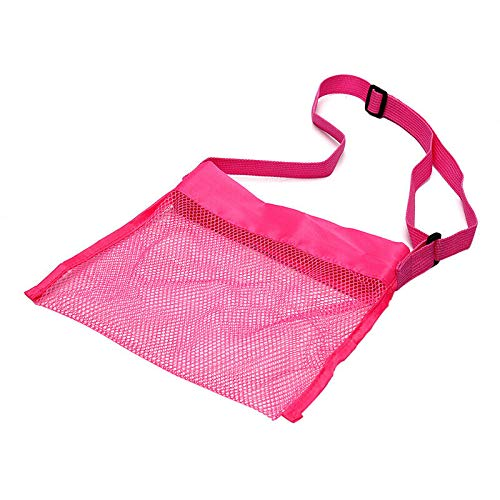 MOPOLIS 1pc Beach Bag Foldable Mesh Swimming Bag for Children Beach Toy Storage Bag- (Color - Rose red)