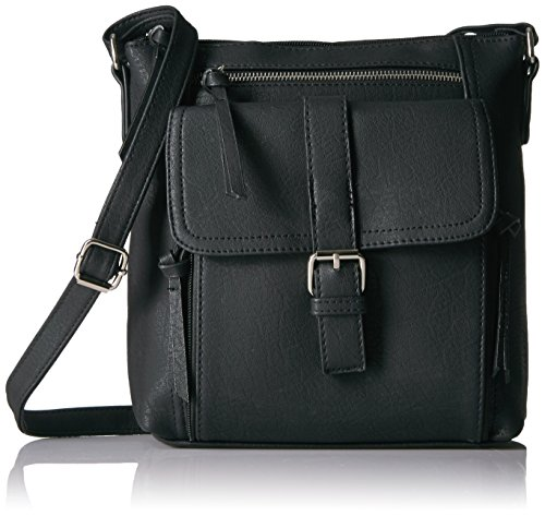 Bueno of California Buckle Tech Cross Body with Phone Charger in Black