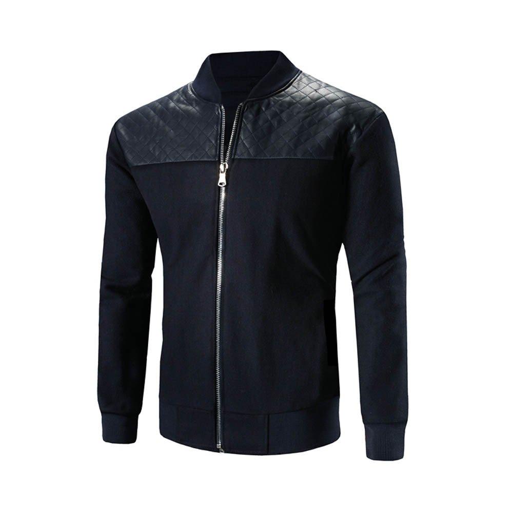 Men's Overcoat for Men's Autumn Winter Stand Neck Patchwork Coat Zipper Warm Coat,Suit Jacket (XL,Navy)