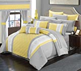Perfect Home 24 Piece Aura Complete Pintuck Embroidery color block bedding, sheets, window panel collection Queen Bed In a Bag Comforter Set Yellow, Sheets Included