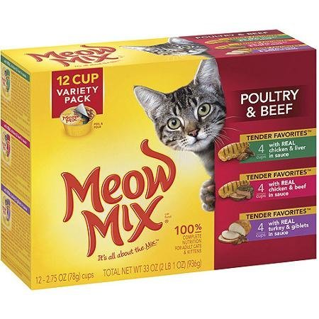 Meow Mix Poultry & Beef Tender Favorites Wet Cat Food Variety Pack, 2.75-Ounce Cups (Pack of 12) includes 4 each: Chicken & Liver, Chicken & Beef, and Turkey & Giblets