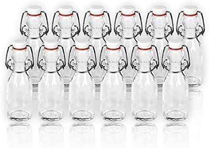 Lote de botellas, cristal con cierre de porcelana, 100 ml, 12 unidades