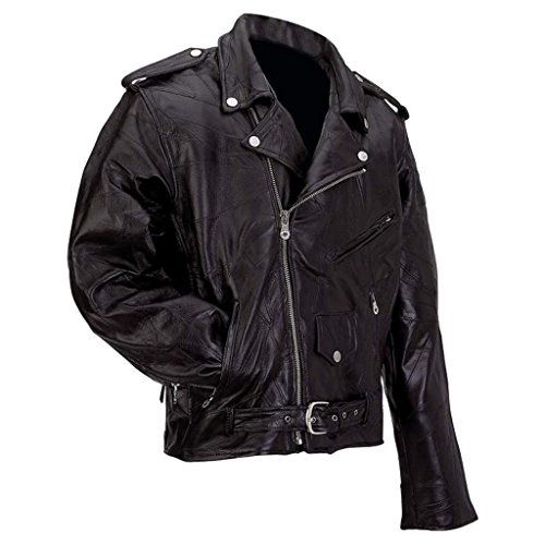 Diamond Plate Rock Design Genuine Buffalo Leather Motorcycle Jacket GFMOT2X