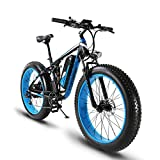 Cyrusher Fat Tire Electric Bike 1000W Snow E-Bike Beach Cruiser 48 volt Men Women Dual Suspension XF800 Off Road Mountain e-Bike Pedal Assist, Lithium Battery Hydraulic, Disc Brakes Shimano 7 Speeds