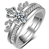 Women's Crown Tiara Rings Set Exquisite 18K Gold Plated Princess CZ Solitaire Wedding Engagement Promise Rings for Her (White Gold Tone, 8)