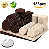 Furniture Pads 138 Pieces Two Colors Pack Felt Furniture Pads Adhesive Anti Scratch Chair Furniture Floors Protector for Hardwood Floor