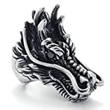 head bands ga - Daesar Stainless Steel Rings Mens Bands Silver Black Rings for Men Gothic Punk Ring Dragon Head Size:11