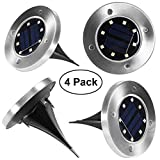 Ruitta Solar Ground Light Outdoor, 4 LED/8 LED/12 LED In-Ground Lights Waterproof, Cool White, Auto On/Off, Easy Install for Garden,Pathway,Deck,Driveway,Garage (8led,4 Pack)